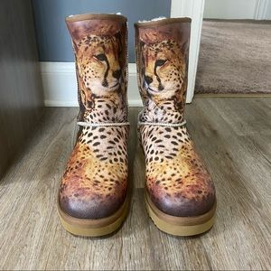 Icon Leather Shearling Cheetah Boots